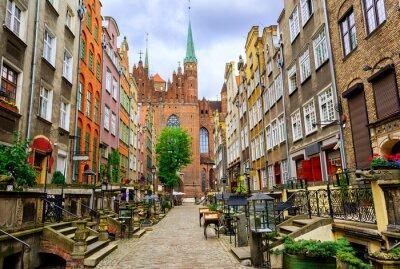 Tradiční gotické domy ve staré části města Gdaňsk, Polsko