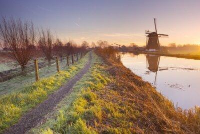Obraz Tradiční holandské větrný mlýn v Nizozemsku při východu slunce