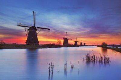 Obraz Tradiční větrné mlýny při východu slunce, Kinderdijk, Nizozemí