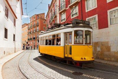Obraz tram on narrow street of Alfama, Lisbon