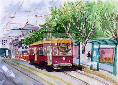 tramvaj akvarel skica