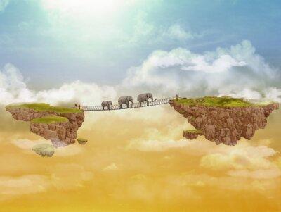 Obraz Tři sloni. Ilustrace.