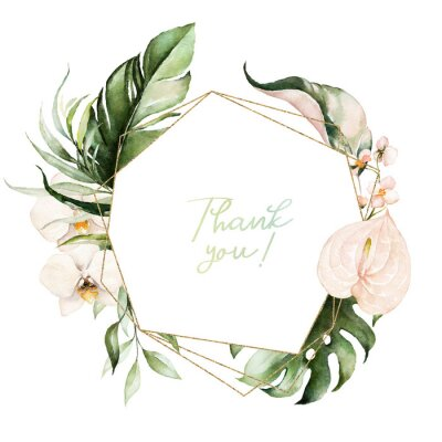 Obraz Tropical exotic watercolor floral geometric frame. Green & gold leaves, blush flowers. For wedding stationary, greetings, wallpaper, fashion, background. Palm fern banana green leaves.