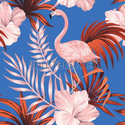 Obraz Tropical vintage pink flamingo, red palm leaves floral seamless pattern blue background. Exotic jungle wallpaper.