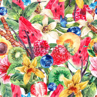 Obraz Tropical Watercolor Natural Healthy Food Eco Seamless Pattern with Watermelon, Apricot, Kiwi, Vanilla and Berries, Nature Exotic Menu Fruits Pattern