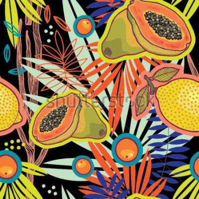 Obraz Tropická letní zahrádka vnoci vektorový vzor.