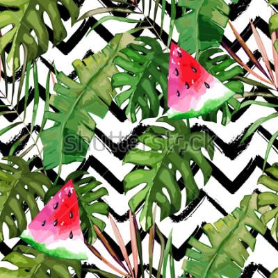 Obraz Tropické bezešvé vzor. Palmové listy a meloun. Ručně tažené ilustrace. Letní pozadí. Akvarel styl