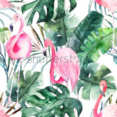 Obraz Tropické bezešve vzor s plameňáci a listy. Akvarel letní tisk. Exotické ručně kreslené ilustrace