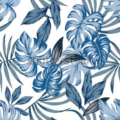 Obraz Tropické exotické palmové listy bezešvá vektorová vzor v módní modré vintage stylu. Tisk příroda módní ilustrace malba květinové džungle tapety na bílém pozadí