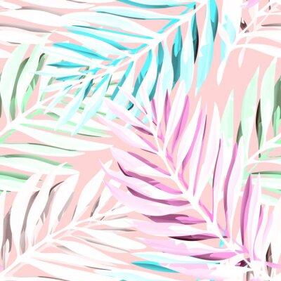 Obraz Tropické listy palmových listů. Moderní návrh tisku s abstraktními listy džungle. Exotické bezproblémové pozadí. Vektorové ilustrace