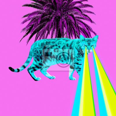 Tropický leopard kočka s lasery z očí. Minimální koláž módní koncept
