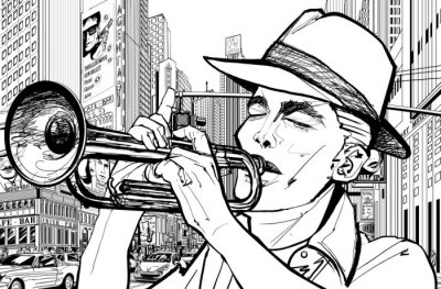 Obraz trumpetista v new-york