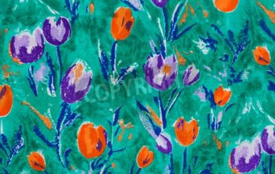 Obraz Tulip tisk tkanina zblízka pozadí.