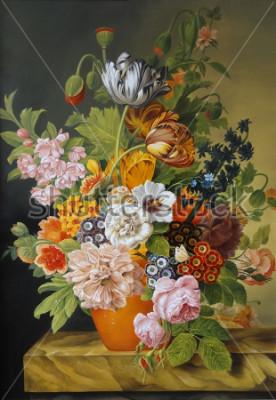 Obraz Tulipány a růže ve staré váze. Vlčí máky, fialky, heřmánek, sedmikrásky. Malování. Stálý život.