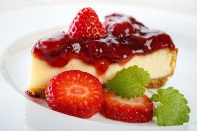 Obraz Tvarohový koláč s jahodovým džemem a jahody