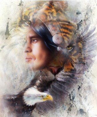 Obraz tygr s orlicí a indiánský bojovník a čelenka ilustraci. volně žijících živočichů na malování pozadí, Oční kontakt, bílá, černá a hnědá barva