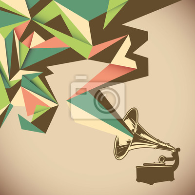 Obraz Úhlová abstrakce se starý gramofon.