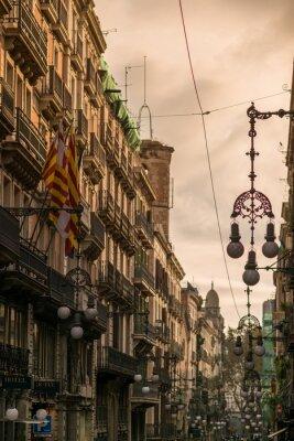 Obraz Ulice v Barceloně s mnoha pouličních lamp