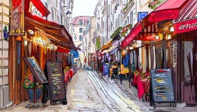 Obraz Ulice v Paříži - ilustrace