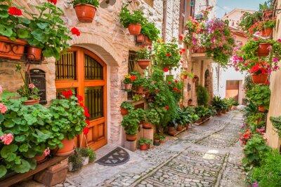 Ulici v malém městečku v Itálii v létě, Umbria
