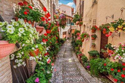 Ulici v malém městečku v Itálii v slunečný den, Umbria
