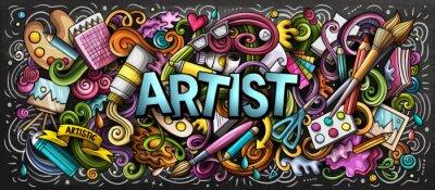 Obraz Umělec nabídky barevné ilustrace. Vizuální umění. Malování a kreslení umění pozadí.