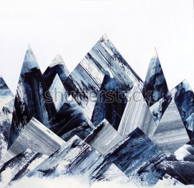 Obraz Umělecké pozadí. Inkoustová struktura na papíře. Abstractní horská koláž