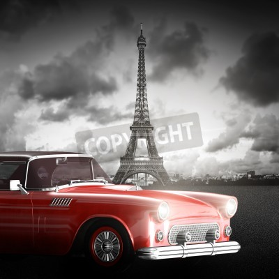 Obraz Umělecký obraz z Eiffelovy věže, Paříž, Francie a červené retro auto.