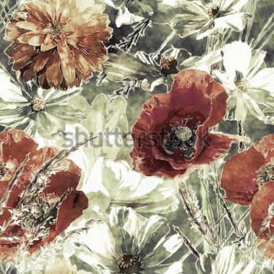 Obraz umění vinobraní akvarel barevné květinové bezešvé vzor s červenými a bílými máky, pivoňky, Astry angliae, listy a trávy na tmavě zeleném pozadí