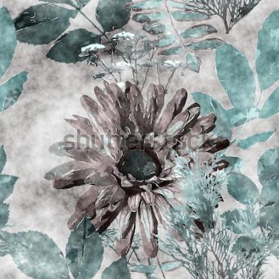 Obraz umění vinobraní akvarel barevné květinové bezešvé vzor s velkou gerberou, listy a trávy na pozadí