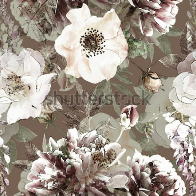 Obraz umění vinobraní tužka květinové barevné bezešvé vzor s bílými růžemi a pivoňky na zeleném pozadí. Dvojitá expozice a Bokeh efekt