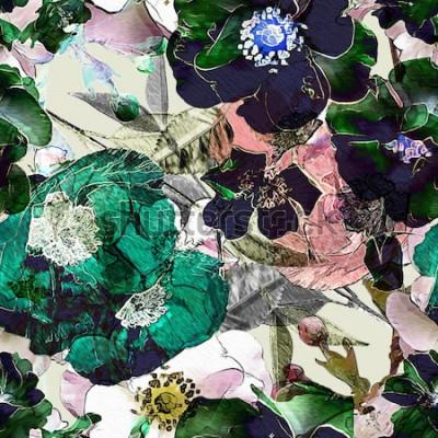 Obraz umění vinobraní tužka květinové barevné bezešvé vzor s černými růžemi a zelené máky na světlém pozadí. Dvojitá expozice a Bokeh efekt