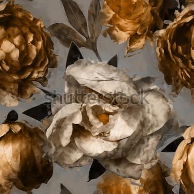 Obraz umění vintage květinový vzor bezešvé s bílé a zlaté pivoňky na šedém pozadí
