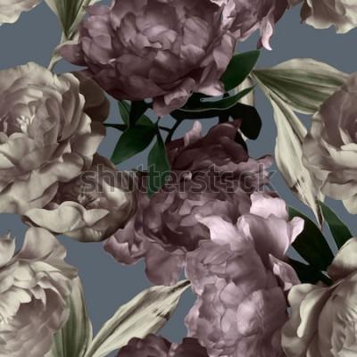 Obraz umění vintage monochromatické grafické a akvarel květinový vzor bezešvé s bílými a fialovými pivoňky na šedém pozadí
