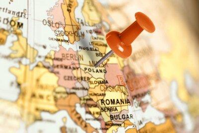 Obraz Umístění Polsko. Red pin na mapě.