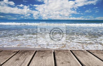 Obraz una playa tropické con cielo azul