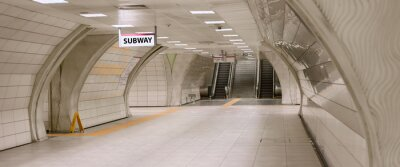 Obraz Underground subway station hallway tunnel with escalator. Abstract perspective view