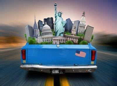 Obraz USA, atrakce USA v kufru jedoucího auta