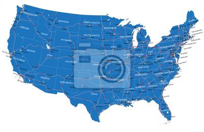 USA silniční mapa