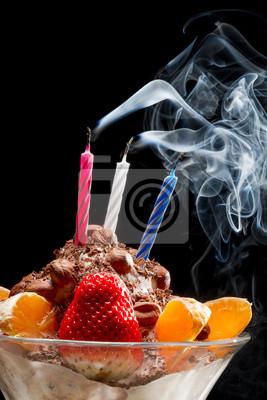 Ustřelit svíčku na narozeninovém zmrzlinou