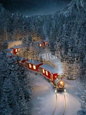 Obraz Úžasný roztomilý vánoční vlak prochází fantastickým zimním lesem v severním pólu. Neobvyklé vánoční 3d ilustrace