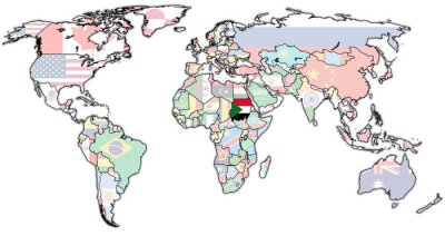 Obraz Území Súdán na mapě světa