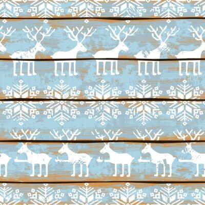 Obraz Vánoční bezešvé vzor s jeleny a sněhové vločky