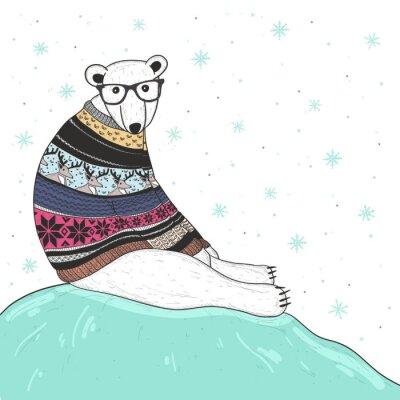 Obraz Vánoční karta s roztomilý bederní ledního medvěda. Mějte s Fair Isle