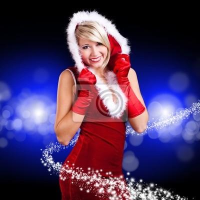 Obraz Vánoční žena na modrém pozadí