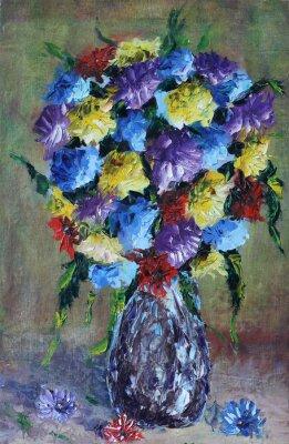 Obraz váza s květinami, zátiší