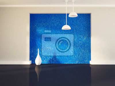 Váza u modré zdi, 3d