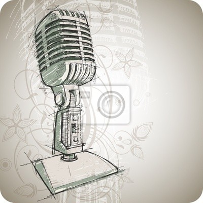 Vector Classic mikrofon a květinové pozadí