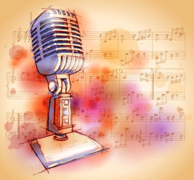 Vector Classic mikrofon, akvarel na pozadí a poznámky