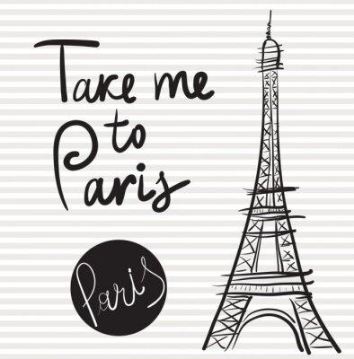 Obraz Vector kreslené ručně ilustrace s Eiffelovou věží